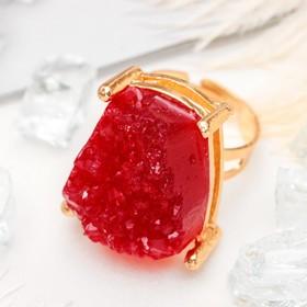 Кольцо 'Натурель фэшн', прямоугольник, цвет ярко-красный в золоте, безразмерное Ош