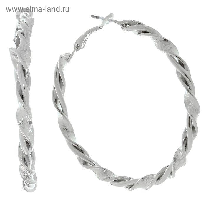 """Серьги-кольца """"Плетение"""" в серебре с матовыми вставками d=5 см"""