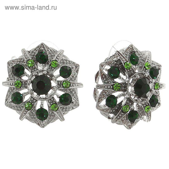 """Серьги со стразами """"Круг ажурный"""" цвет зелёный в серебре"""