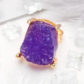 Кольцо 'Натурель фэшн', прямоугольник, цвет фиолетовый в золоте, безразмерное Ош
