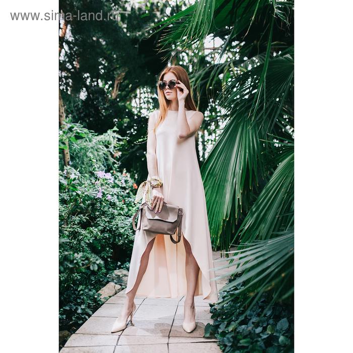 Платье, размер 46, рост 164 см, цвет светло-персиковый (бежевый) (арт. 4676б)