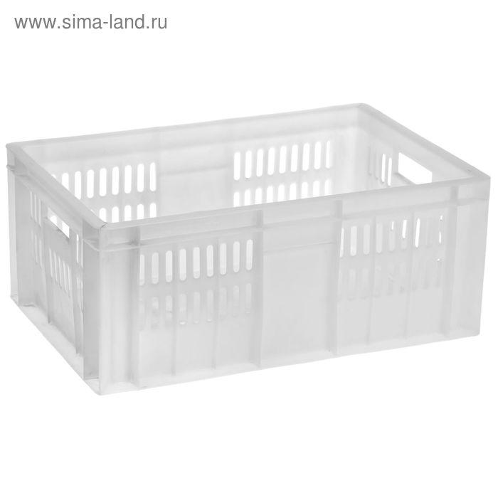 Ящик п/э 60х40х25 см, морозостойкий, сплошное дно, цвет белый