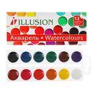Акварель 12 цветов ILLUSION, картонная коробка, без кисти