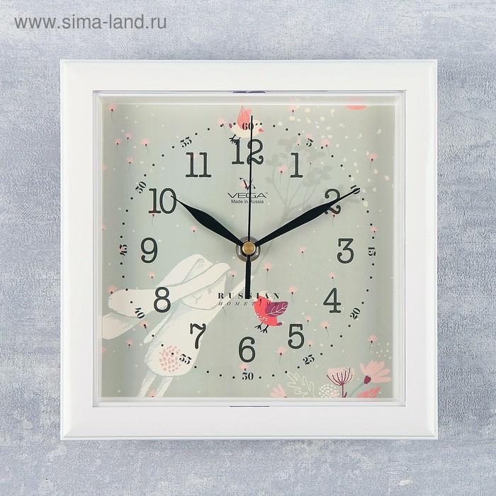 """Часы настенные квадратные """"Зайка"""", белая рамка, 20х20 см"""