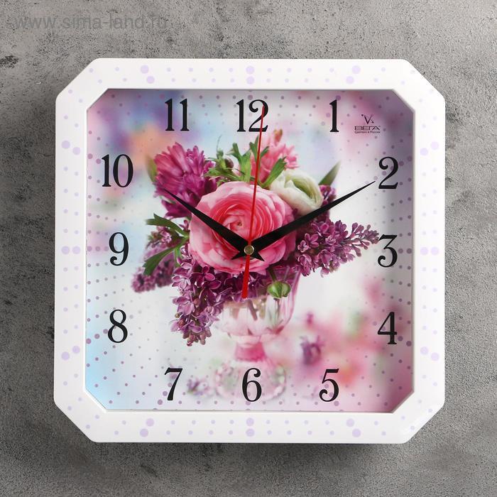 """Часы настенные квадратные """"Роза и сирень"""", белая рамка, 28х28 см"""