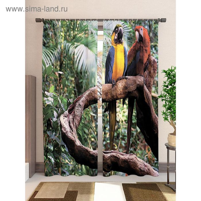Комплект фотоштор Попугаи, блэкаут, 2шт 148х260см, шторная лента (крючки), кулиска