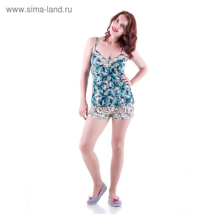 Пижама женская с цветочным орнаментом, размер 46 (M) (арт.PVH680)