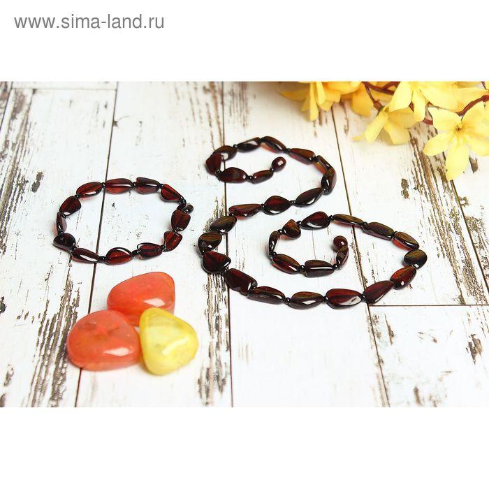 """Набор 2 предмета: бусы, браслет """"Янтарь"""" галька"""
