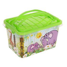 """Ящик для игрушек """"Чудо-остров"""" с ручкой и крышкой, 7 л"""