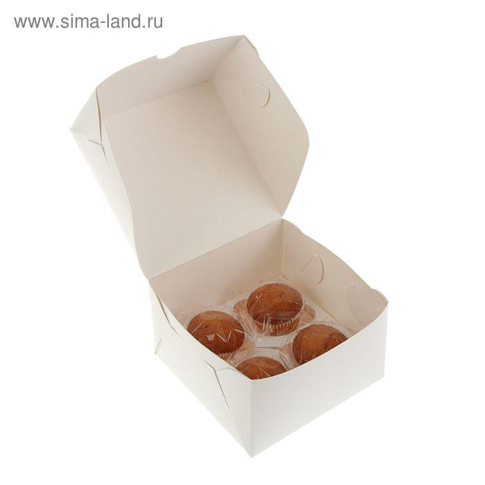 Кондитерская упаковка, короб под 4 капкейка 16 х 16 х 10 см