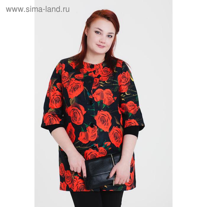 Пальто женское «Джери», рост 168, размер 48, рукав 7/8, цвет черный/цветок