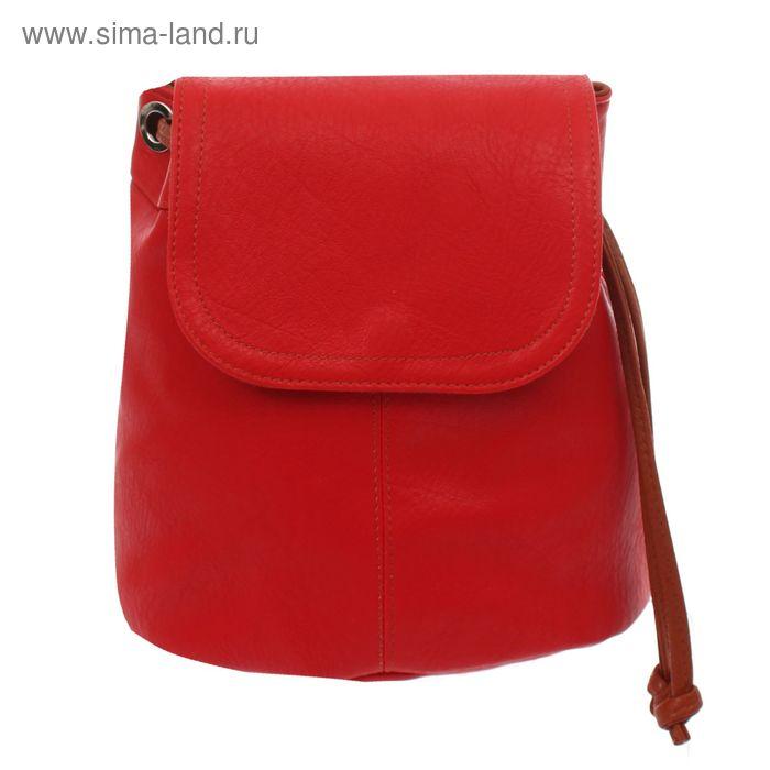 Рюкзак на стяжке шнурком, 1 отдел, 1 наружный карман, красный