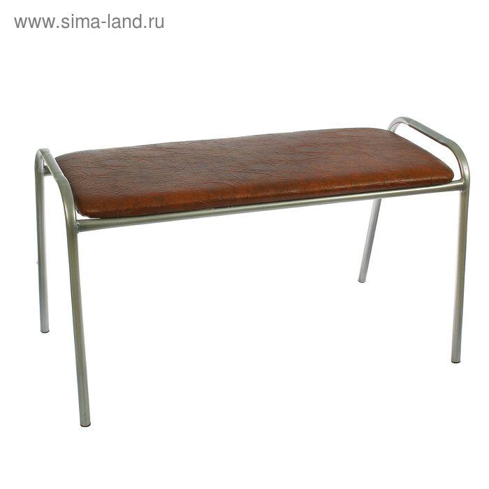 Банкетка-скамья. с хромовым покрытием ножек, цвет шоколад