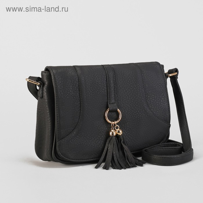 """Сумка женская на молнии """"Луиза"""", 1 отдел с перегородкой, 1 наружный карман, длинный ремень, чёрная"""