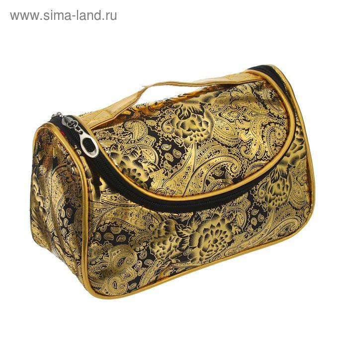 """Косметичка-сумочка на молнии """"Орнамент"""", 1 отдел, чёрная"""