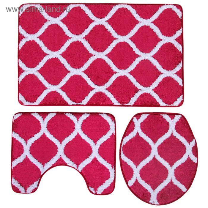 Набор ковриков для ванной и туалета, 3 шт, 50х80 см, 50х40 см, 36х43 см, цвет красный