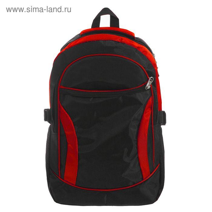 """Рюкзак молодёжный """"Хобби"""", 1 отдел, 2 наружных и 2 боковых кармана, чёрный/красный"""