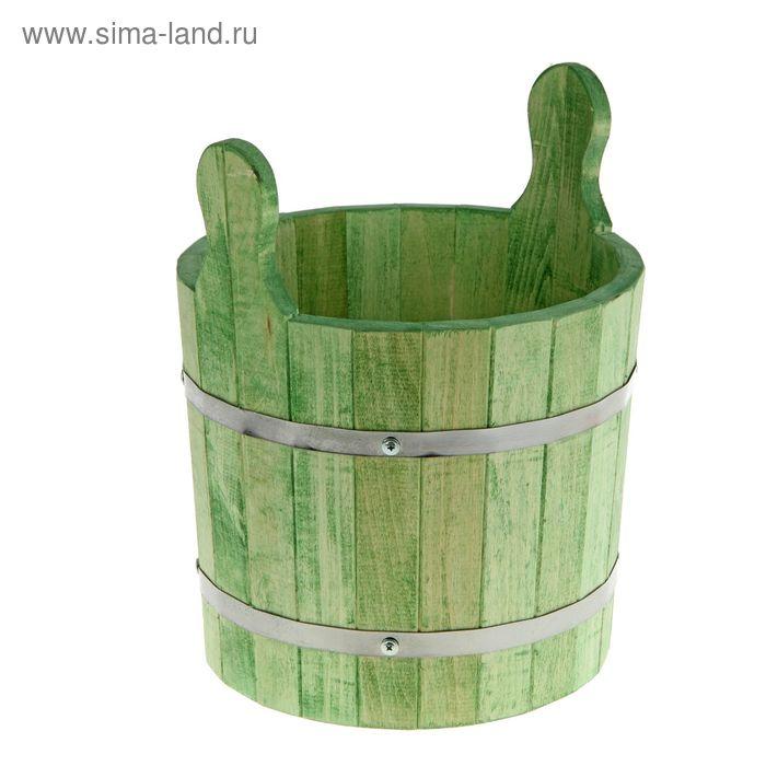 Запарник-ушат 8 л, цвет еловая зелень, липа
