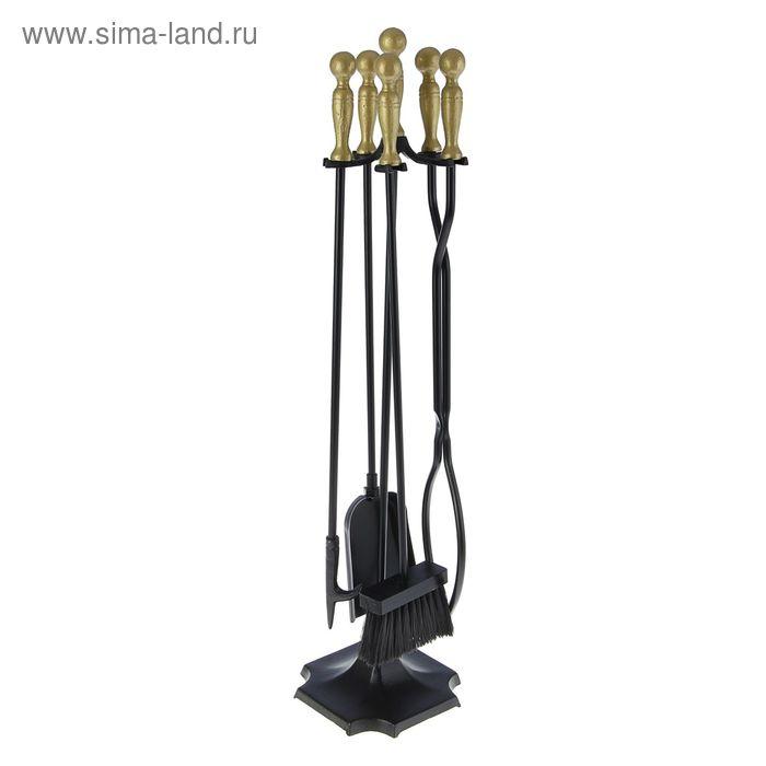 """Каминный набор кованый """"Король"""" N41111AK с позолоченными ручками 4 предмета: багор, щипцы, метелка, совок"""