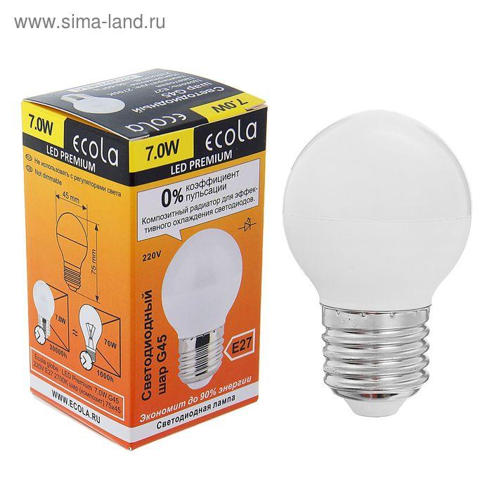 """Лампа светодиодная Ecola, G45, E27, 7 Вт, 2700 К, """"шар"""", композит"""