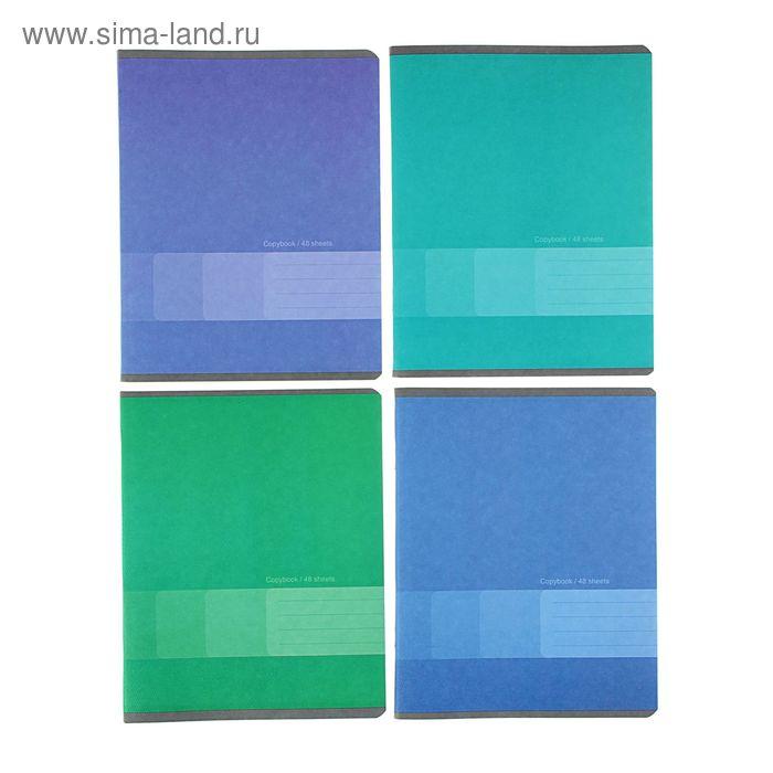 Тетрадь 48 листов линейка One Color, бумажная обложка, 4 вида МИКС