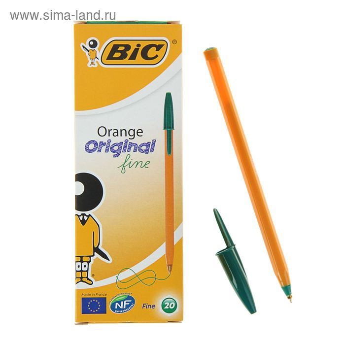 Ручка шариковая BIC Orange, чернила зеленые, узел 0.8мм, одноразовая