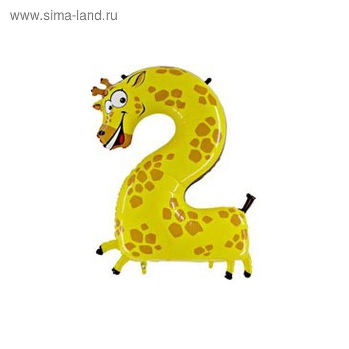 "Шар полимерный 40"" ""Жираф"", цифра 2"
