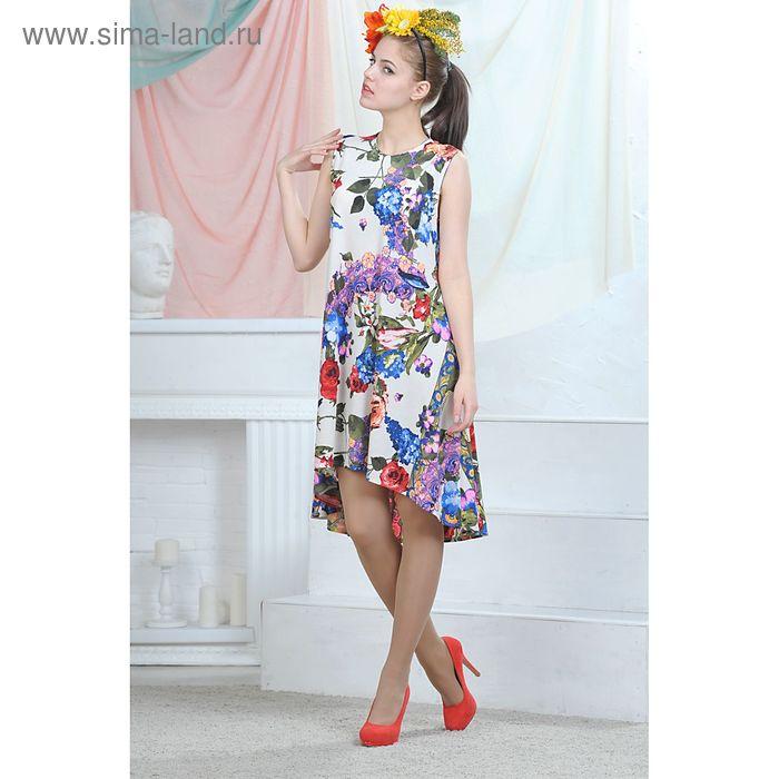 Платье, цвет белый/синий/красный, размер 48, рост 164 см (арт. 4635)