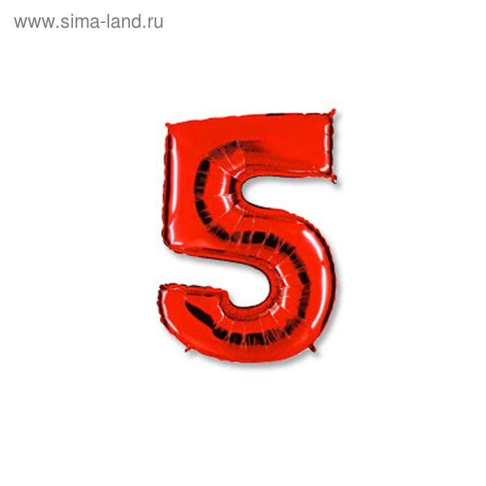 """Шар фольгированный 40"""" """"Цифра 5"""", цвет красный"""