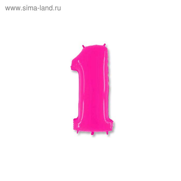 """Шар полимерный 40"""" """"Цифра 1"""", цвет ярко-розовый"""