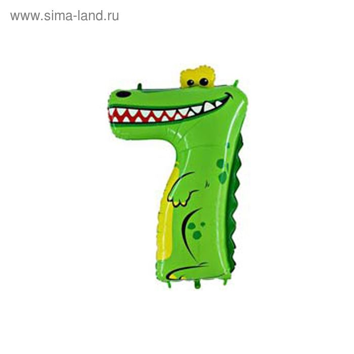 """Шар полимерный 40"""" """"Крокодил"""", цифра 7"""