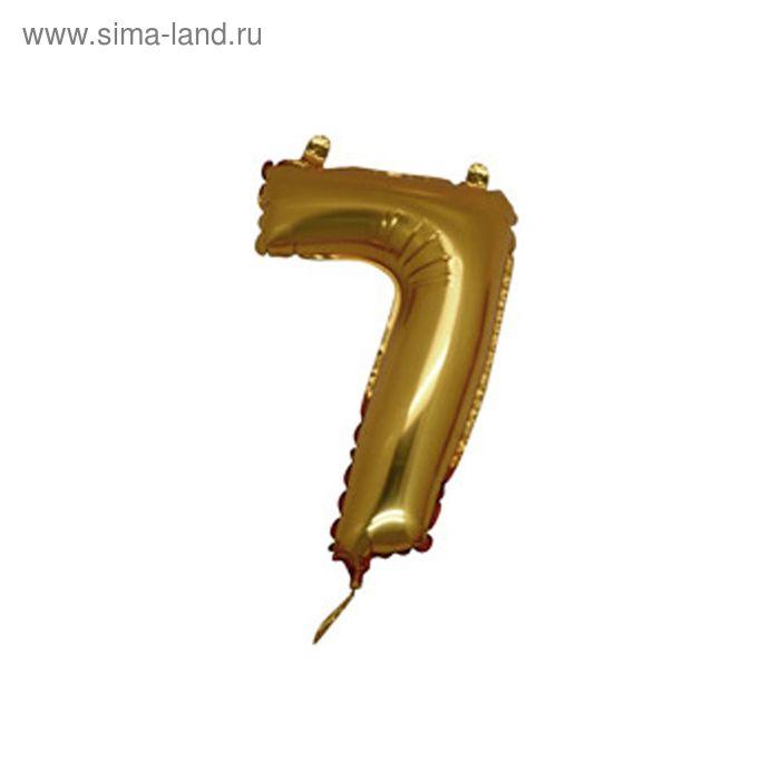 """Шар фольгированный 14"""" """"Цифра 7"""" для палочки, без клапана, цвет золотой"""