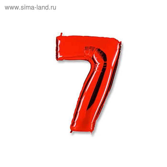 """Шар фольгированный 40"""" """"Цифра 7"""", цвет красный"""