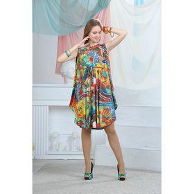 Платье, цвет зелёный/бордовый/горчичный, размер 42, рост 164 см (арт. 4637)