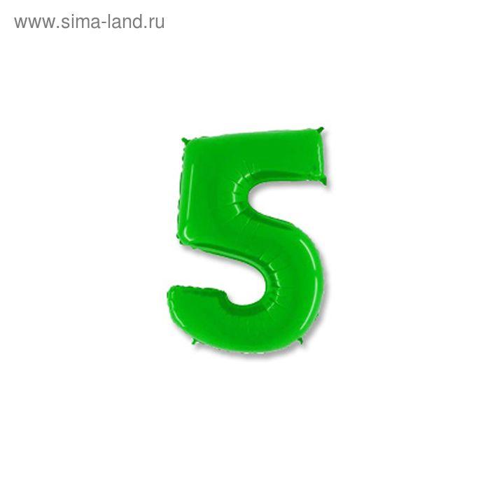 """Шар полимерный 40"""" """"Цифра 5"""", цвет ярко-зелёный"""