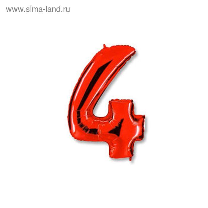 """Шар фольгированный 40"""" """"Цифра 4"""", цвет красный"""