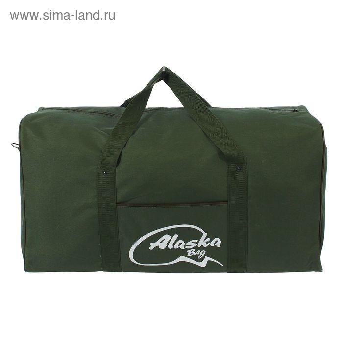 Сумка спортивная на молнии, 1 отдел, 3 наружных кармана, зелёный