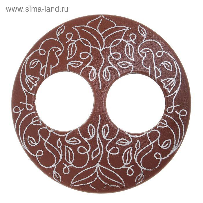 """Волшебная пуговица """"Матовая дизайн"""" круг, цвет шоколадный в серебре"""