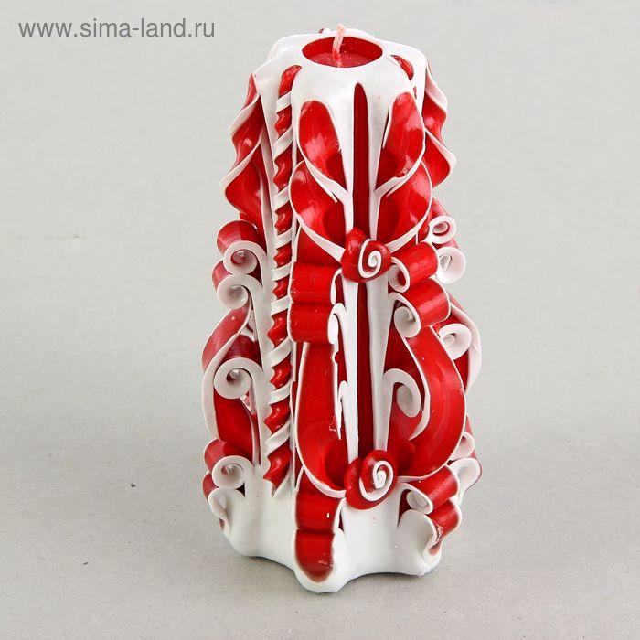 """Свеча резная """"Карнелия"""" 15-17 см, цвет бело-красный"""