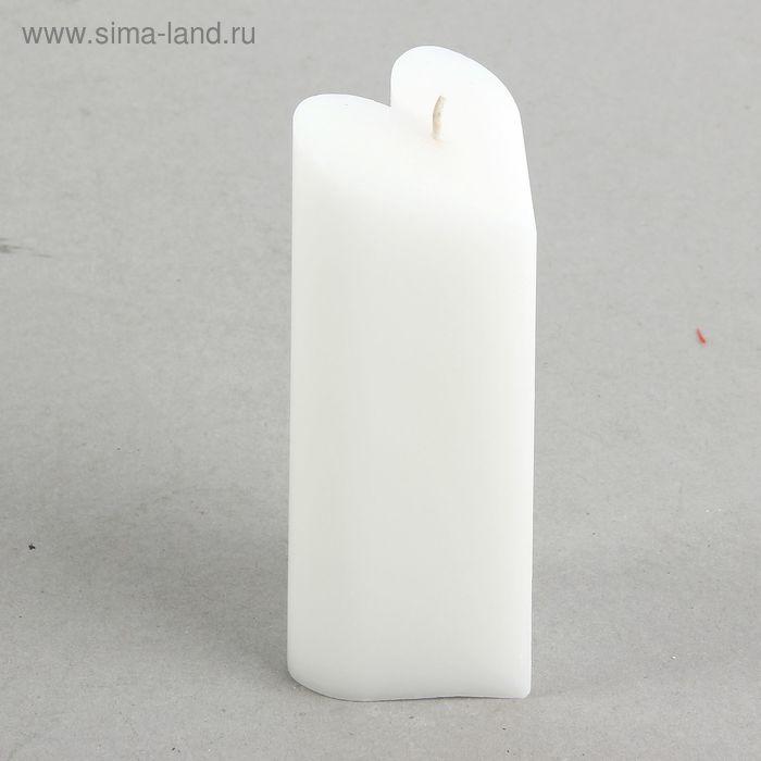 """Свеча-пирамида """"Сердце"""" 6,8 х 15 см, цвет белый"""