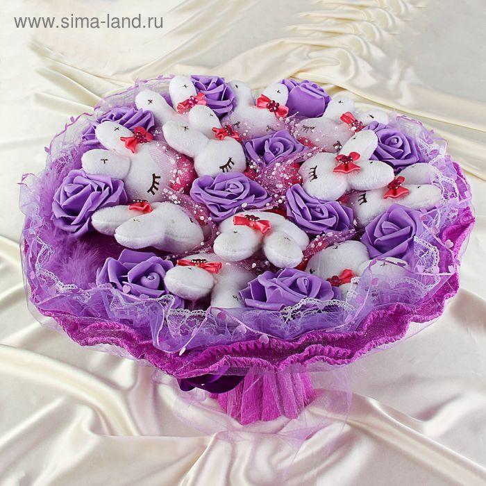 """Букет из игрушек """"Гламурные зайки"""" фиолетовый"""