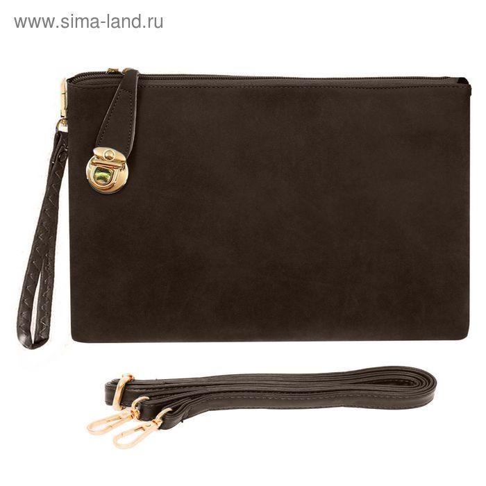 """Клатч женский на молнии """"Мираж"""", 3 отдела, 1 наружный карман, длинный ремень, коричневый"""
