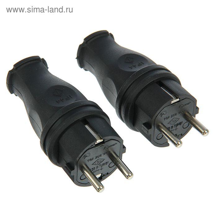 """Вилка кабельная каучуковая """"Т-Пласт"""", 16 А, IP44, 2P+E"""