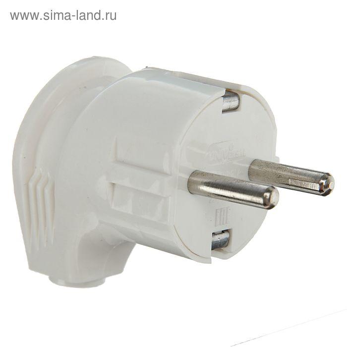 Вилка электрическая UNIVersal А105, с заземлением, угловая, 16 А, 250 В, еврослот, белая