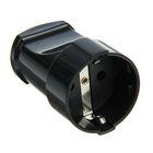Розетка штепсельная UNIVersal А1020, с заземлениеем, 16 А, 250 В, еврослот, черная