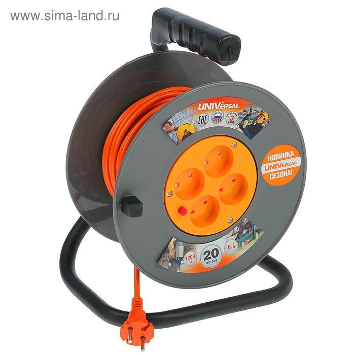 Удлинитель на катушке UNIVersal ВЕМ-250, 4х20 м, ПВС 2х0.75 мм2