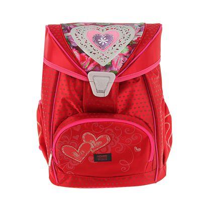 Ранец на замке Proff 36,5*29*18,5 эргономичная спинка, для девочки, Hearts красный