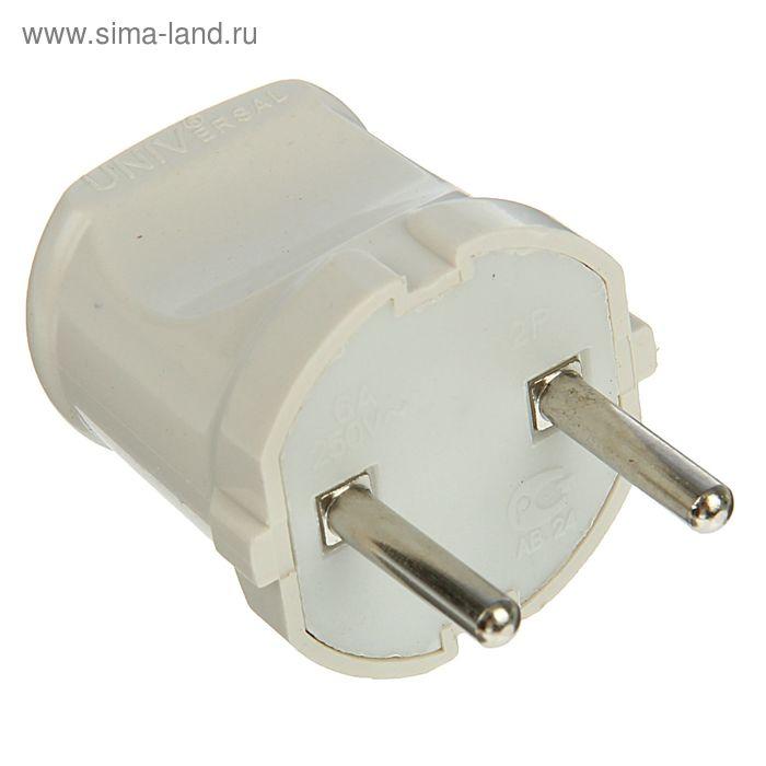 Вилка электрическая UNIVersal A113, без заземления, 6 А, 250 В, еврослот, белая