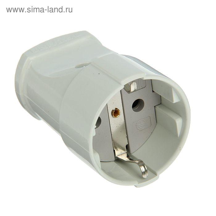 Розетка штепсельная UNIVersal А102, с заземлением, 16 А, 250 В, еврослот, белая