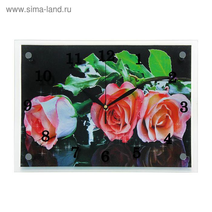 "Часы настенные прямоугольные ""Алые розы"", 25х35 см"